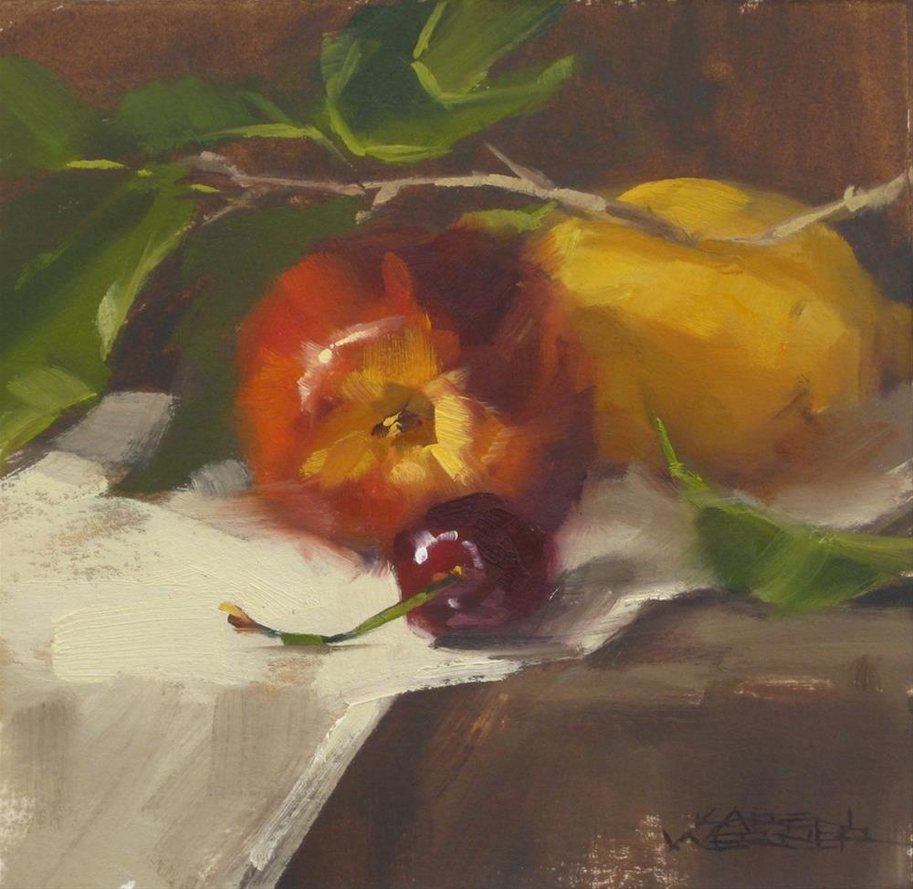 """Nectarine Between"" original fine art by Karen Werner"