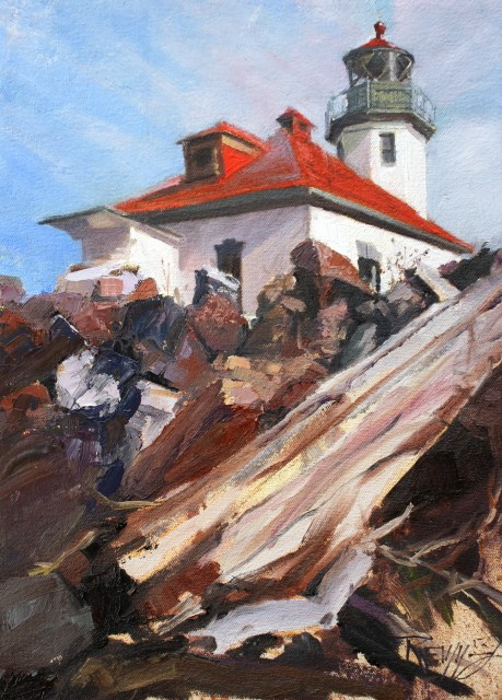 """Alki Lighthouse  Lighthouse oil painting by Robin Weiss"" original fine art by Robin Weiss"