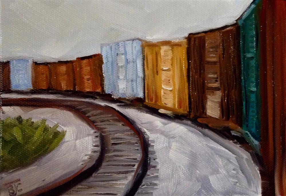 """Freight Train"" original fine art by Bobbie Cook"