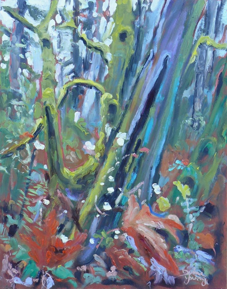 """572 Autumn Forest, Mount Doug"" original fine art by Darlene Young"