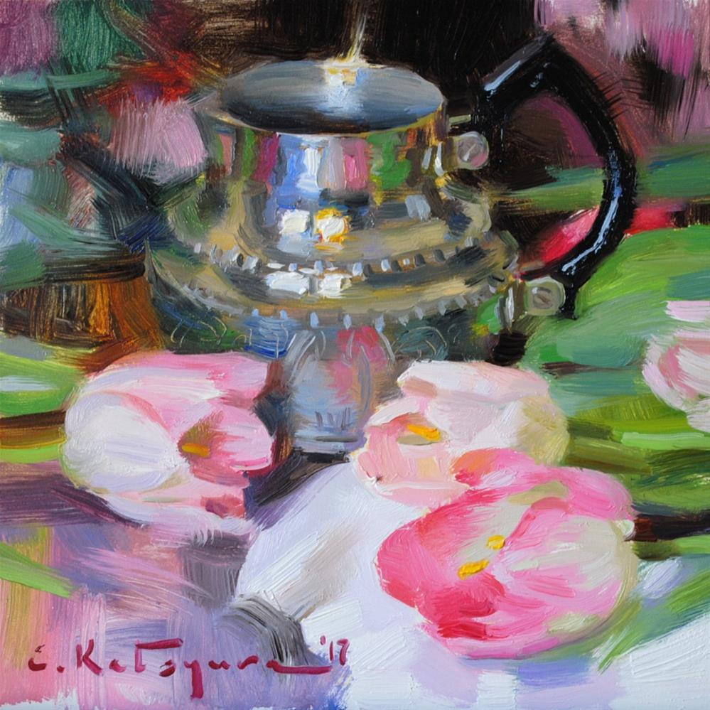 """Silver and Tulips"" original fine art by Elena Katsyura"