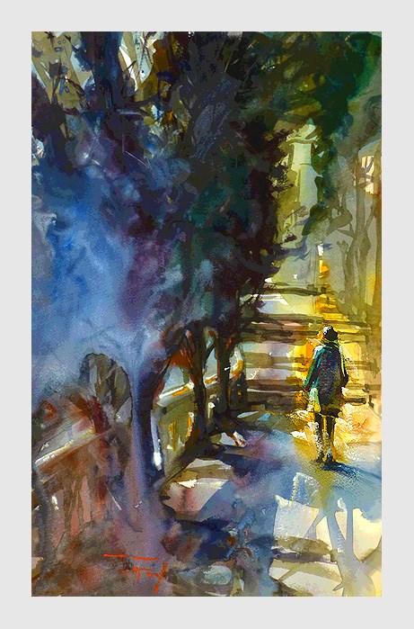 """""""Nizza, Park"""" original fine art by Jurij Frey"""