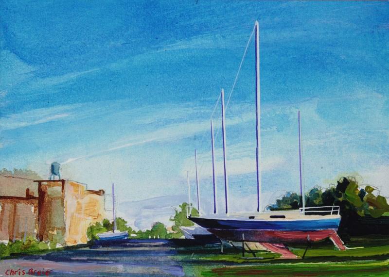 """Yacht Club"" original fine art by Chris Breier"
