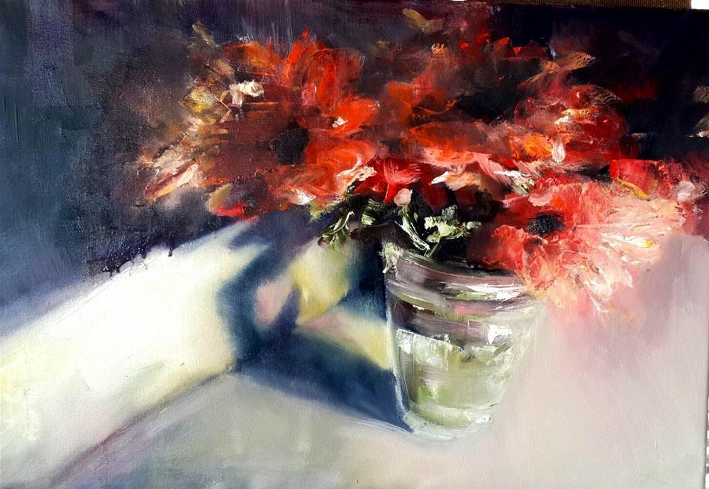 """Flaming daisies"" original fine art by Rentia Coetzee"
