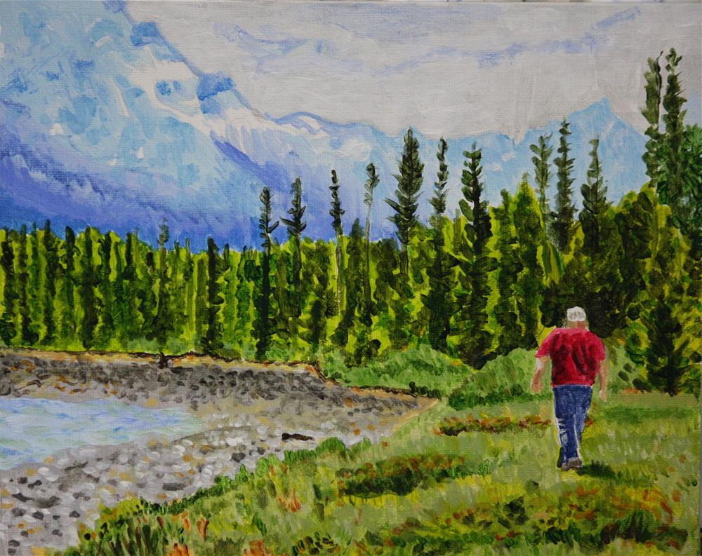 """""""Walking Along The Athabasca River"""" original fine art by Terri-Anne Barge"""