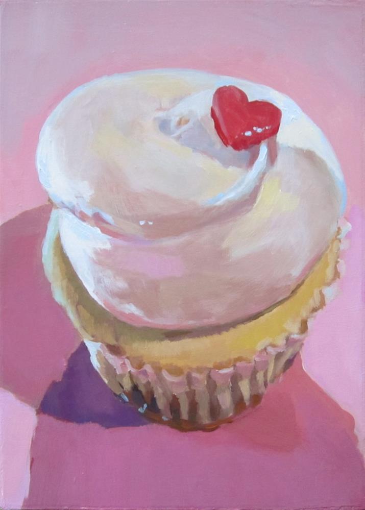 """Cupcake with Heart"" original fine art by Kaethe Bealer"