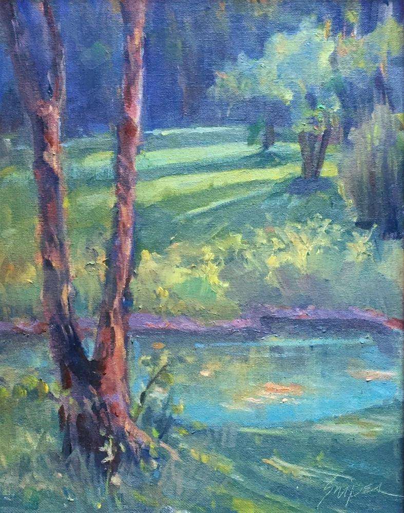 """""""Farm Pond in the Summer"""" original fine art by Connie Snipes"""