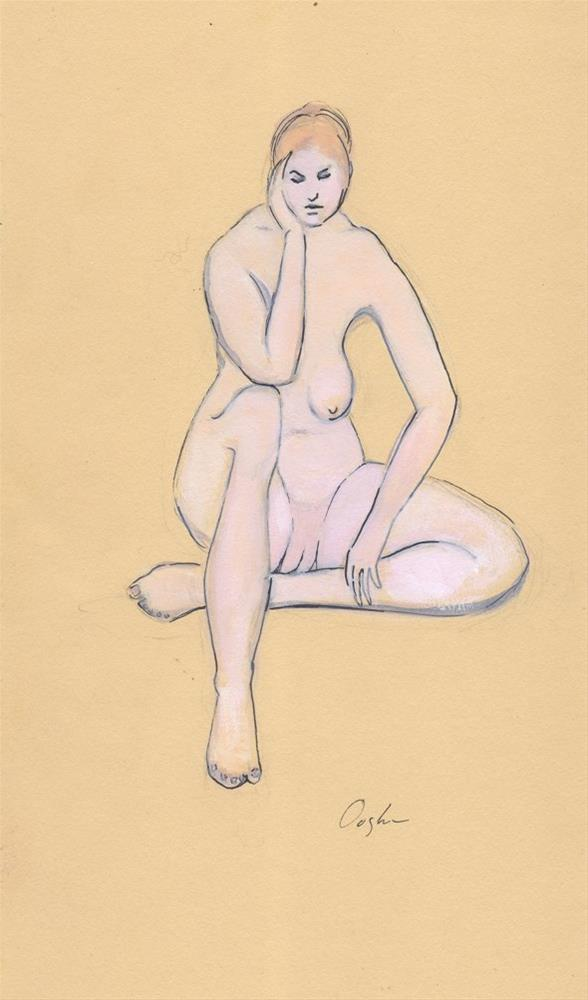 """""""Nude on Yellow Background"""" original fine art by Angela Ooghe"""
