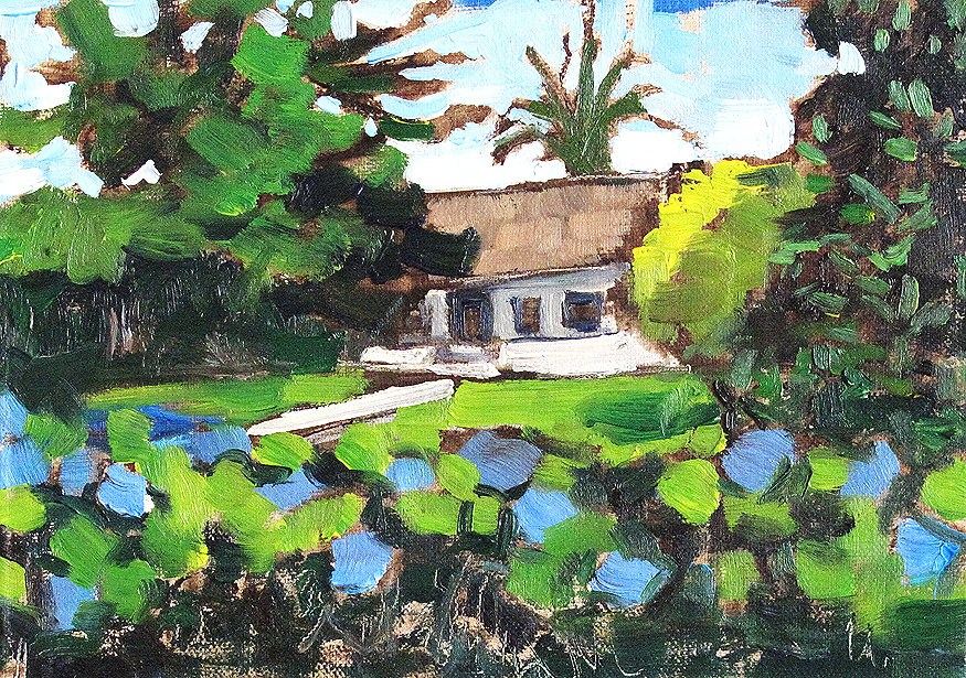 """""""Garden With Morning Glory Flowers"""" original fine art by Kevin Inman"""