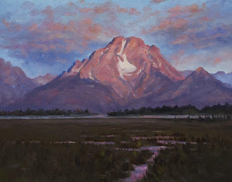"""Sunrise in the Tetons"" original fine art by Bonnie Bowne"