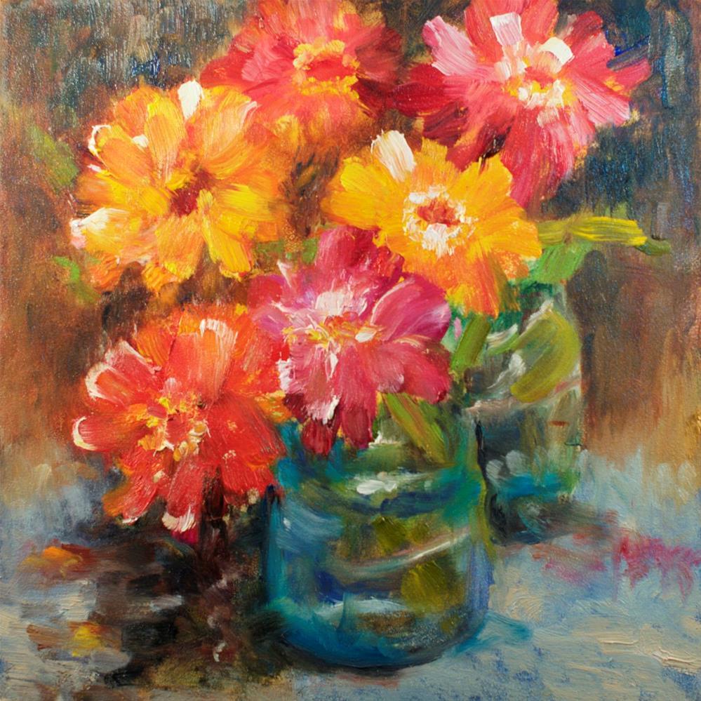 """Late Zinnias"" original fine art by Sue Churchgrant"