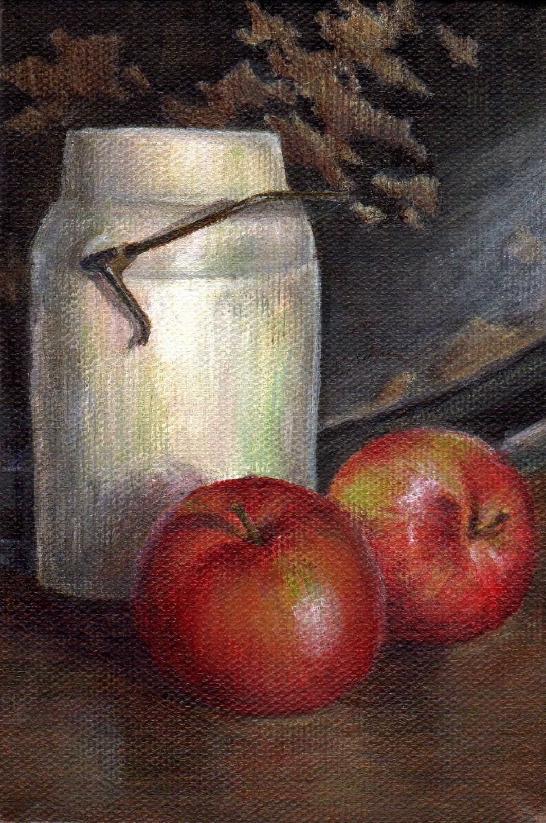 """Apples and a Crock"" original fine art by Debbie Shirley"