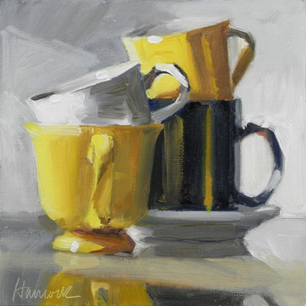 """""""Yellow Cup Stack on Glass"""" original fine art by Gretchen Hancock"""