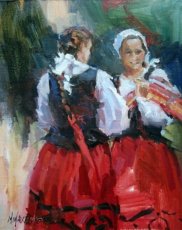 """Two Basque Dancers"" original fine art by Mary Maxam"