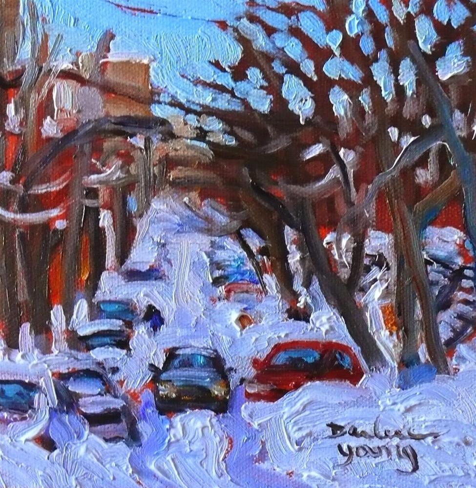 """802 Montreal Under Snow, 6x6, Oil"" original fine art by Darlene Young"