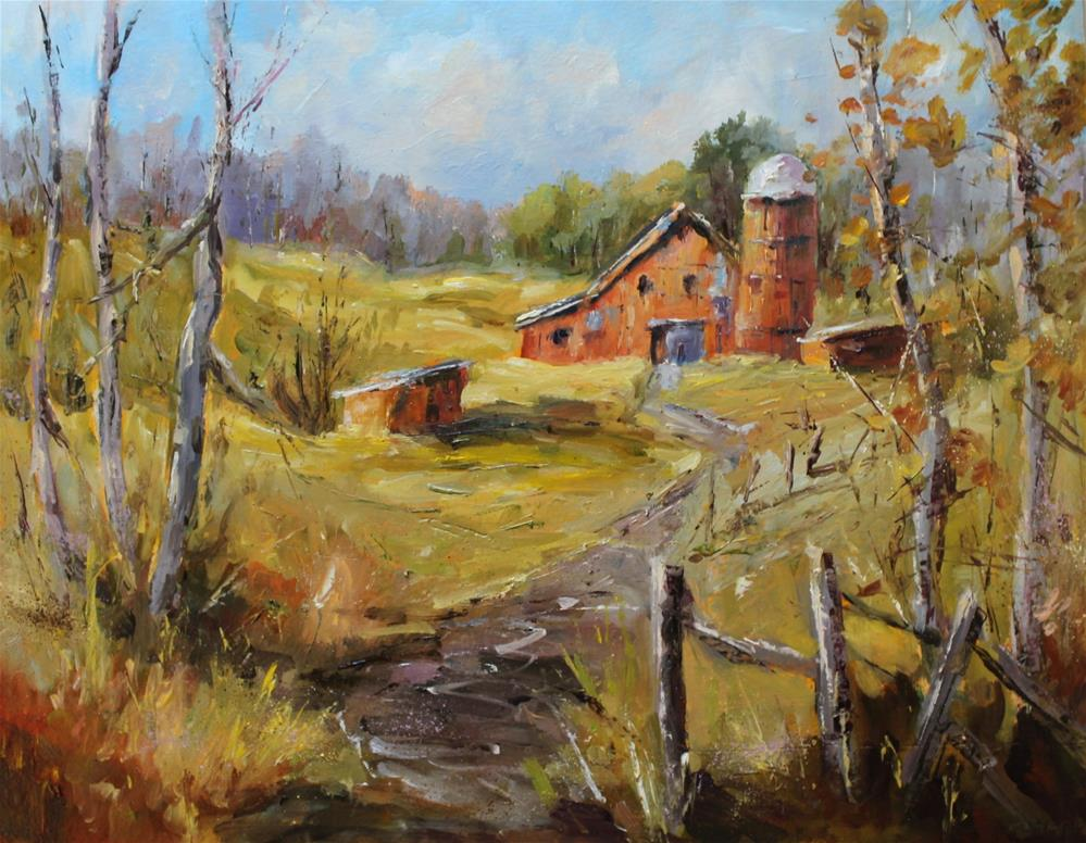 """""""Original midwest Indiana barn landscape meadow oil painting"""" original fine art by Alice Harpel"""