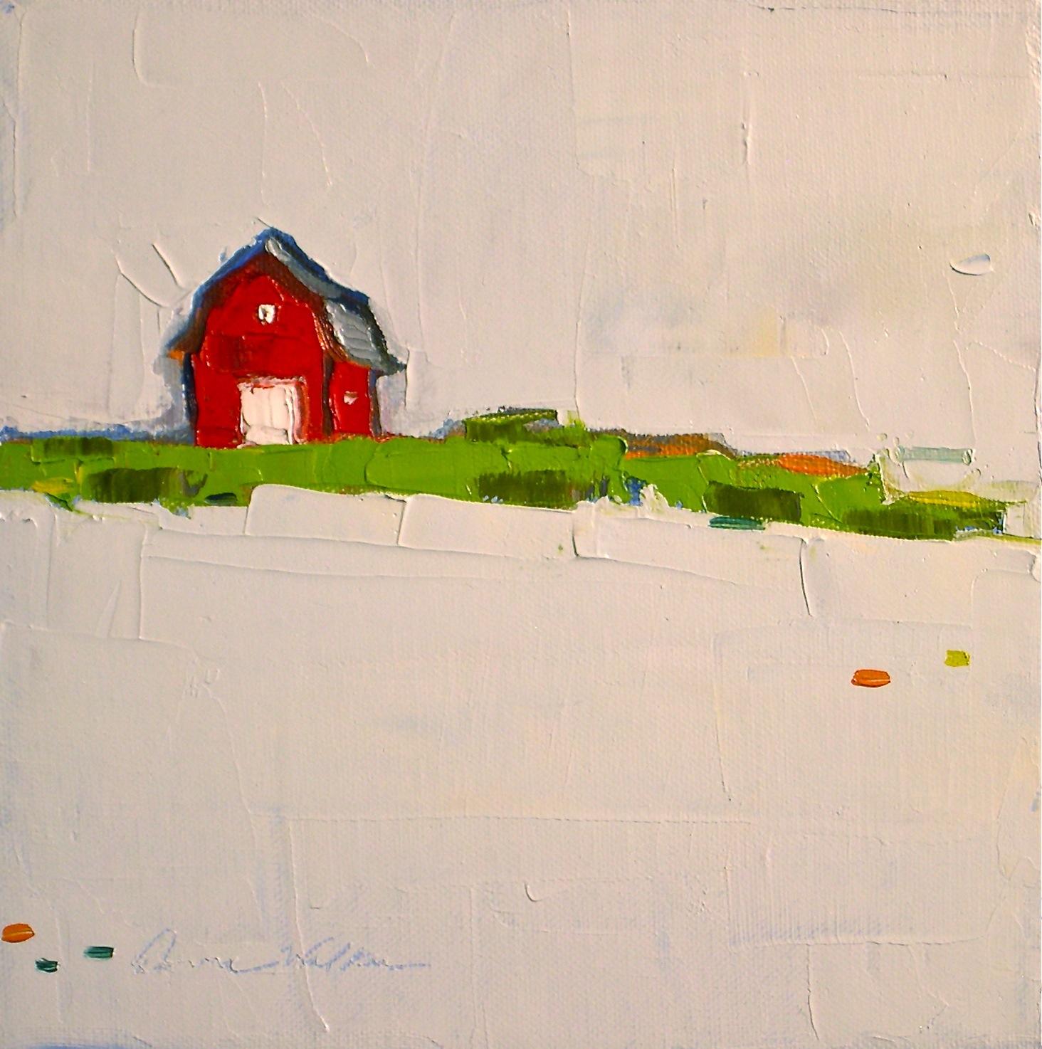 """Red Barn in Snow"" original fine art by Donna Walker"