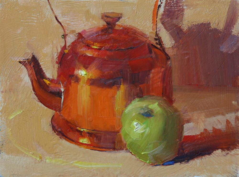 """Copper Kettle and Green Apple"" original fine art by Qiang Huang"