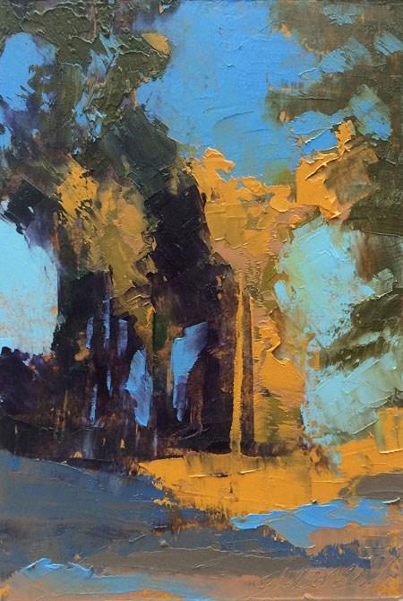"""Sunlit Pines, Elm Savannah"" original fine art by Mary Gilkerson"