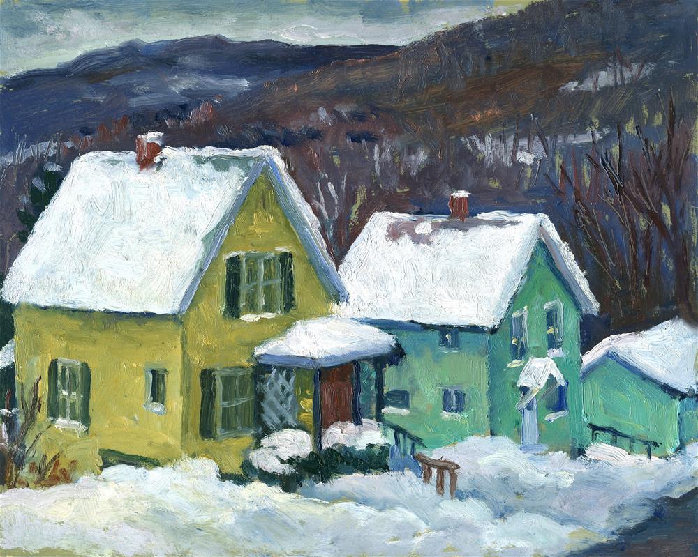 """Snowy Houses"" original fine art by Thor Wickstrom"