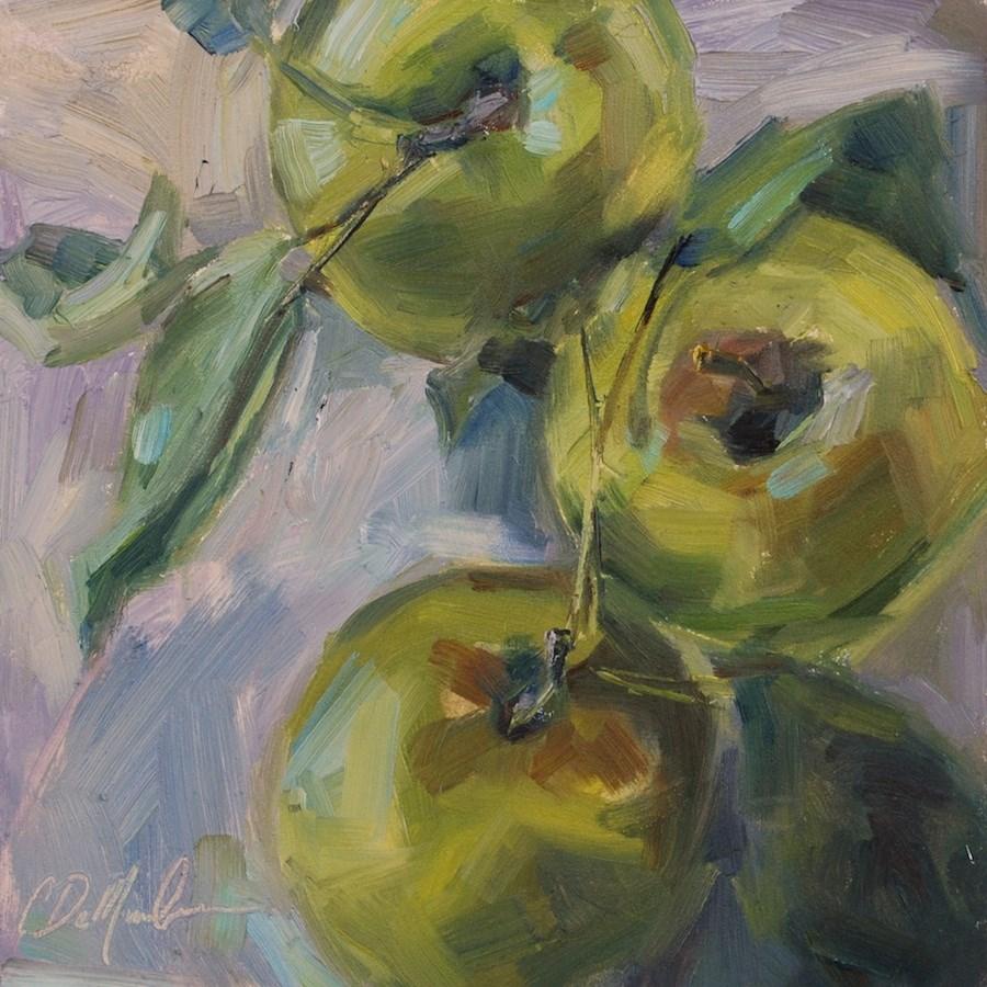 """""""Green Apple Still life, Original oil by Carol DeMumbrum"""" original fine art by Carol DeMumbrum"""