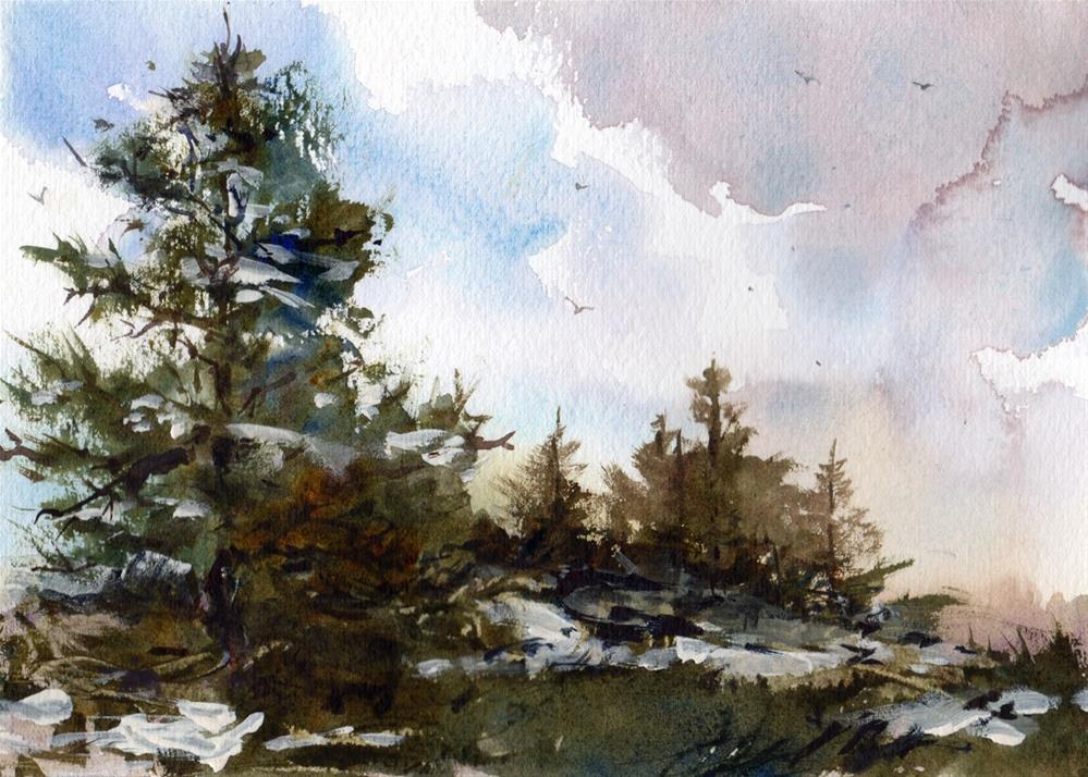 """Winter's Retreat"" original fine art by Linda Henry"