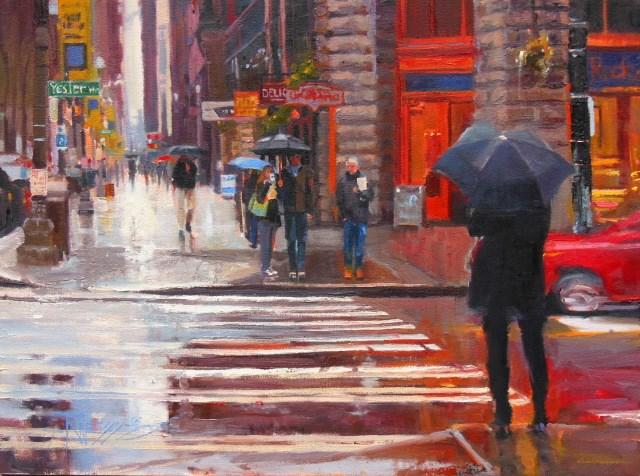 """Crossing Yesler Seattle city oil painting by Robin Weiss"" original fine art by Robin Weiss"