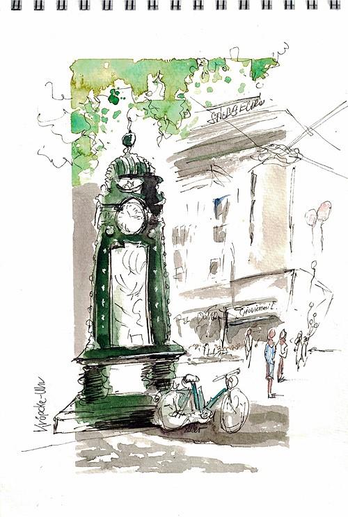 """""""2548 Kroepcke Clock"""" original fine art by Dietmar Stiller"""