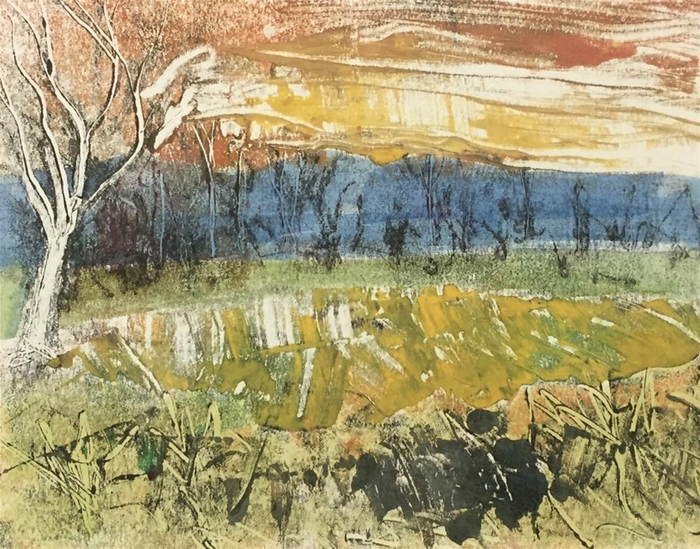 """Abstract Landscape - Yellow Field"" original fine art by Trudi Green Smith"