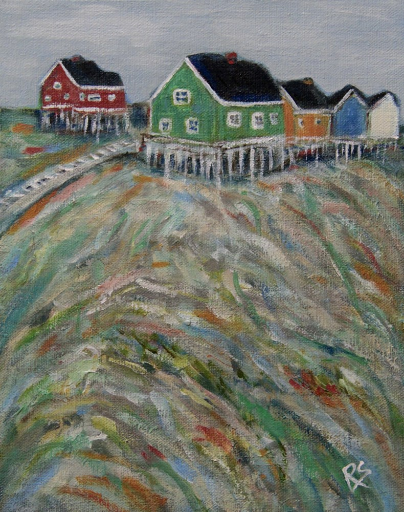 """Houses on the Hill - Greenland"" original fine art by Roberta Schmidt"