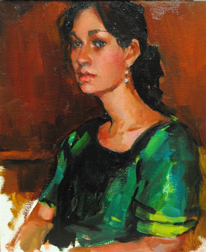 """The Girl in the Green Dress"" original fine art by Laurie Johnson Lepkowska"
