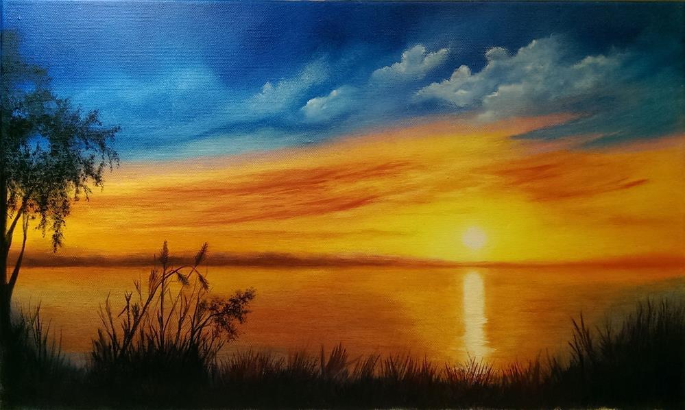 """""""Sunrise on the River"""" original fine art by Irina Chekhovtsova"""