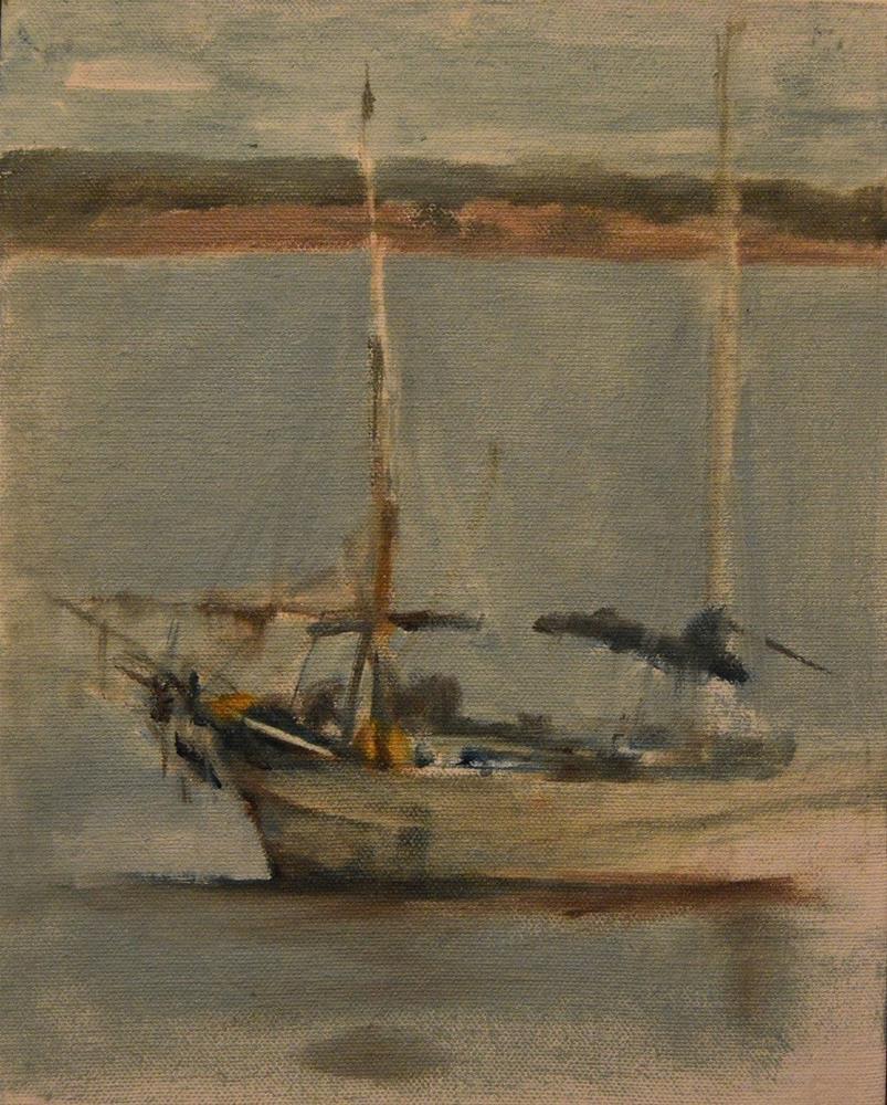 """Boat off Port Townsend"" original fine art by P D Jensen"