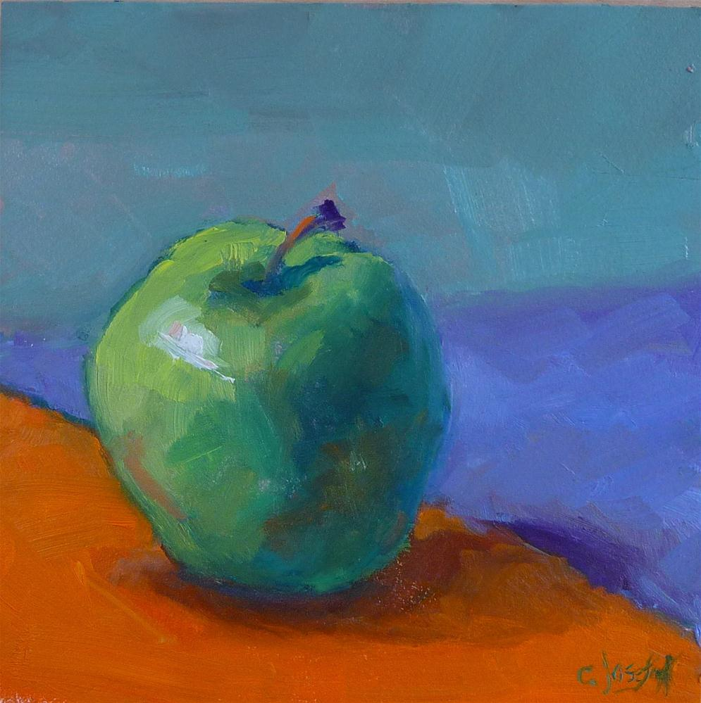 """green apply on orange and purple paper"" original fine art by Carol Josefiak"