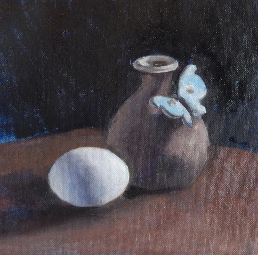 """""""Vase With Butterfly and Egg"""" original fine art by Megan Schembre"""