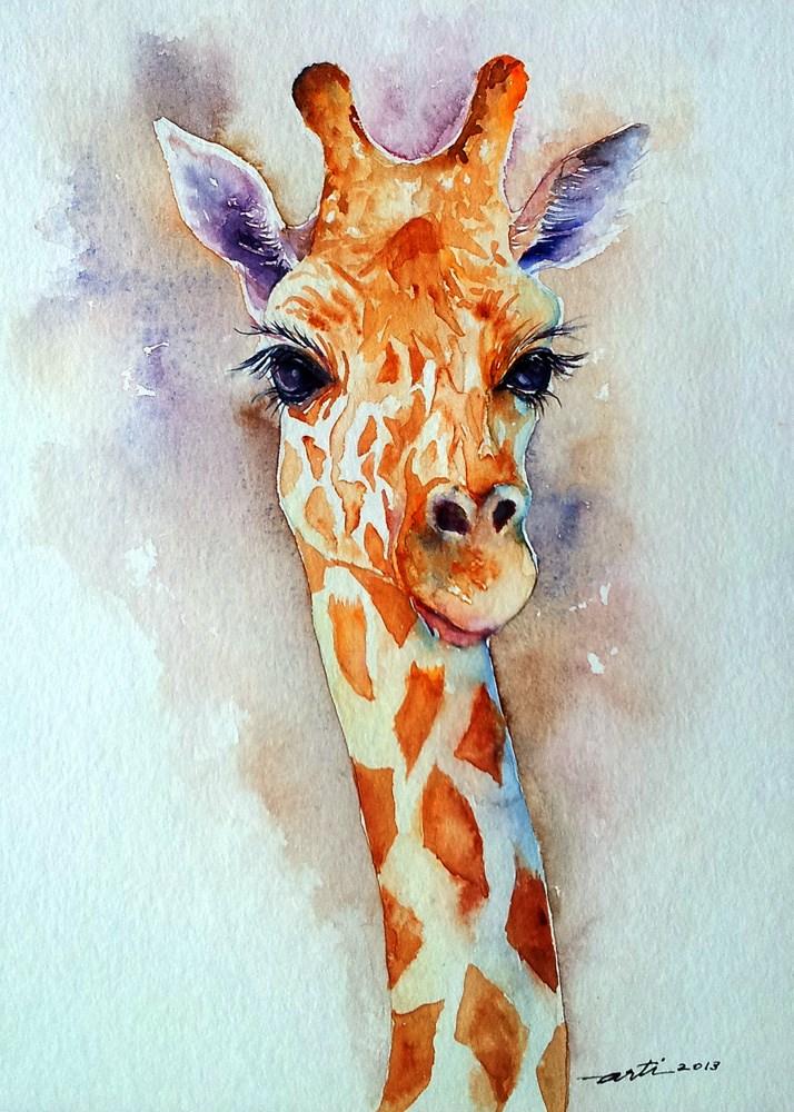 """""""Standing Tall Giraffe Portrait"""" original fine art by Arti Chauhan"""