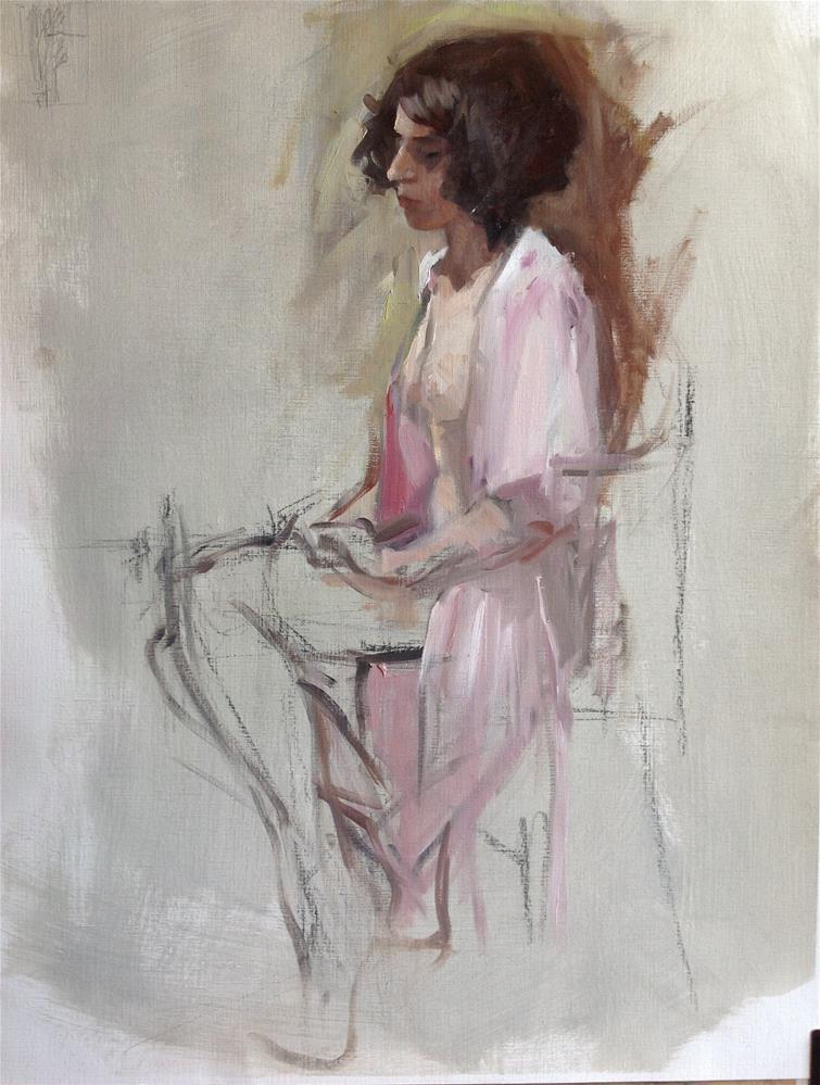 """pink kimono"" original fine art by Christine Bayle"
