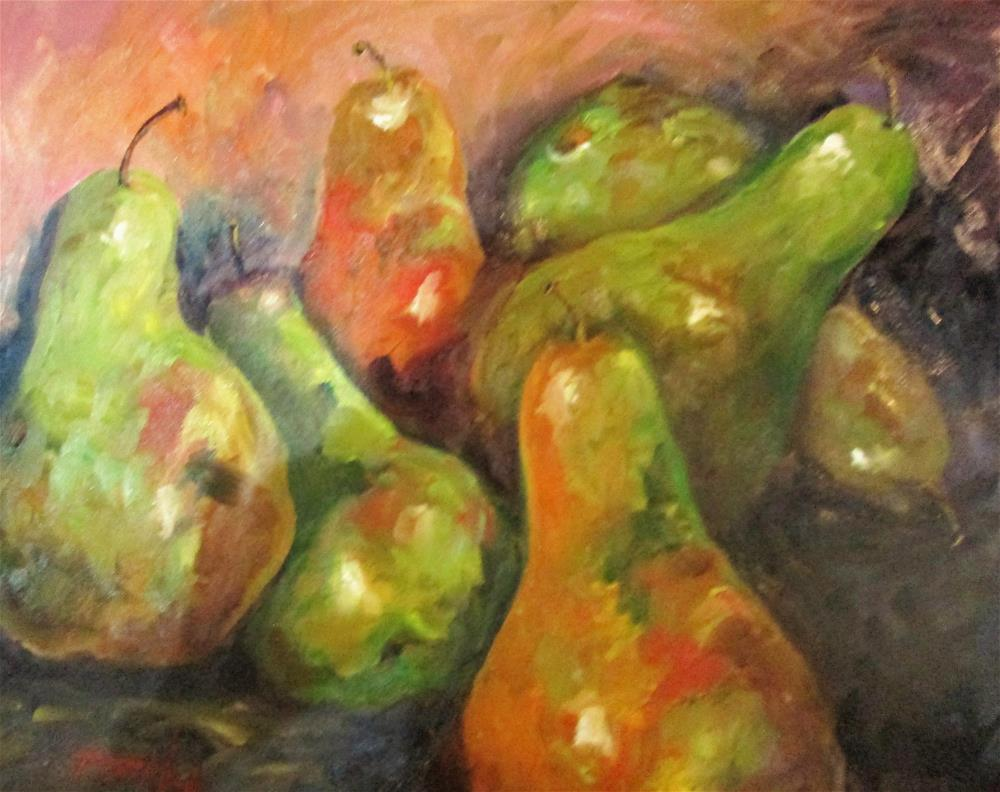 """Six Drunken Pears"" original fine art by Delilah Smith"
