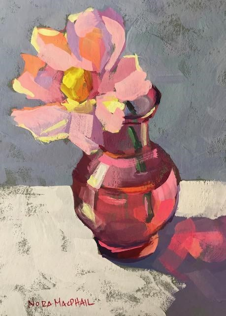 """""""I love red and pink"""" original fine art by Nora MacPhail"""
