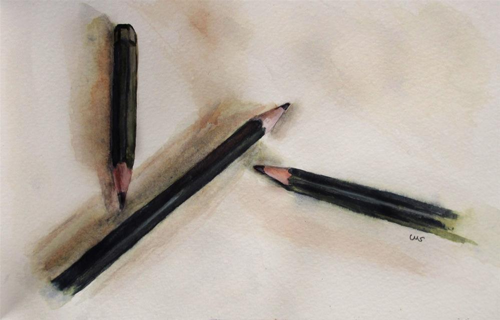 """""""3 Pencils"""" original fine art by Ulrike Miesen-Schuermann"""