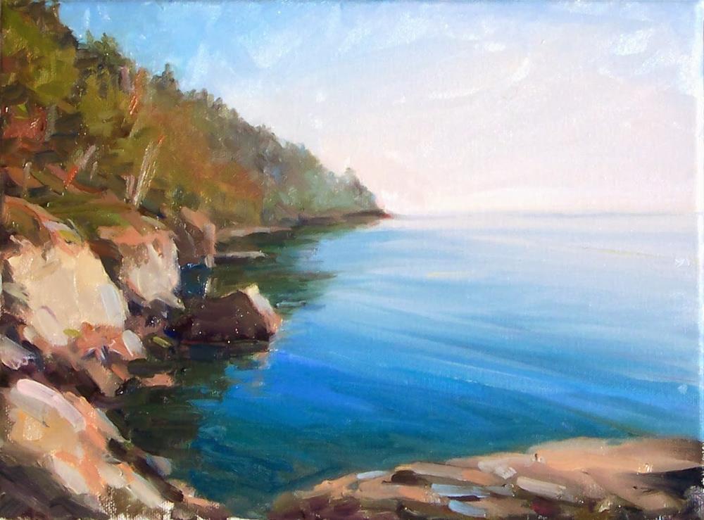 """Rocks along Larrabee Coast,Landscape,oil on canvas,9x12,price$700"" original fine art by Joy Olney"