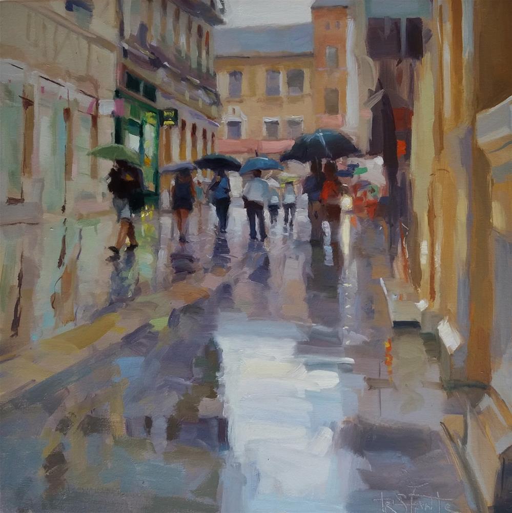 """Umbrella march"" original fine art by Víctor Tristante"
