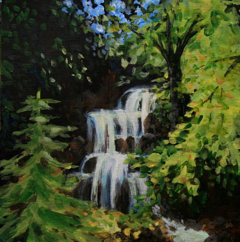 """""""Little Creek Falls"""" original fine art by Jean Nelson"""