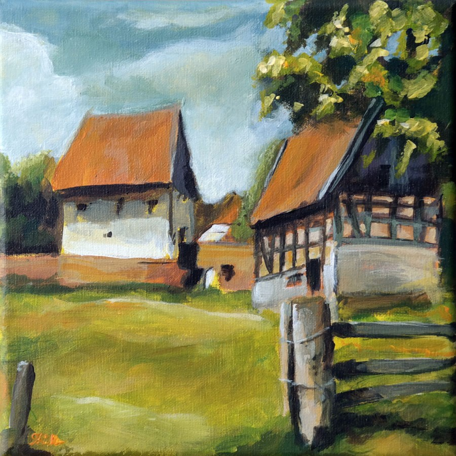 """1130 Farm Idyll"" original fine art by Dietmar Stiller"