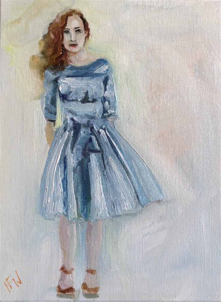 """Blue Party Dress"" original fine art by H.F. Wallen"