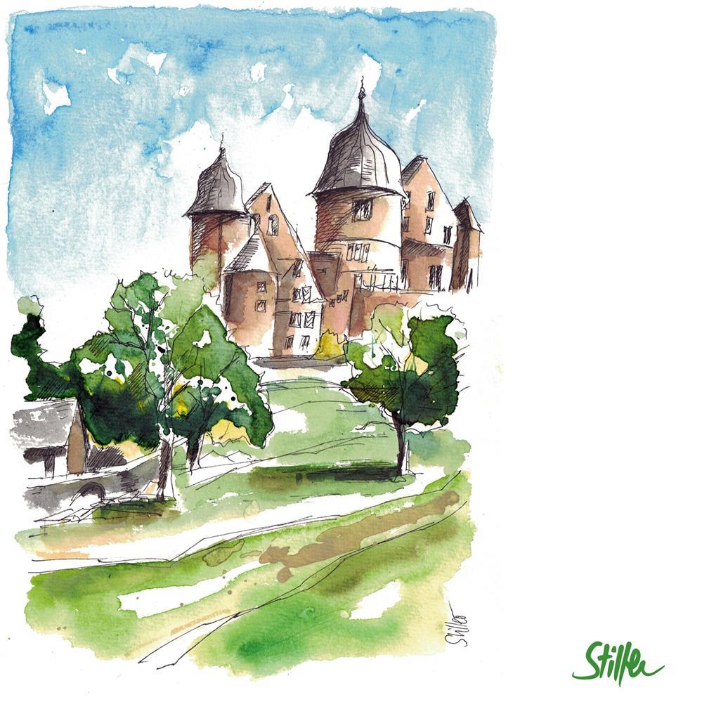 """3593 Saba Castle Sketch"" original fine art by Dietmar Stiller"