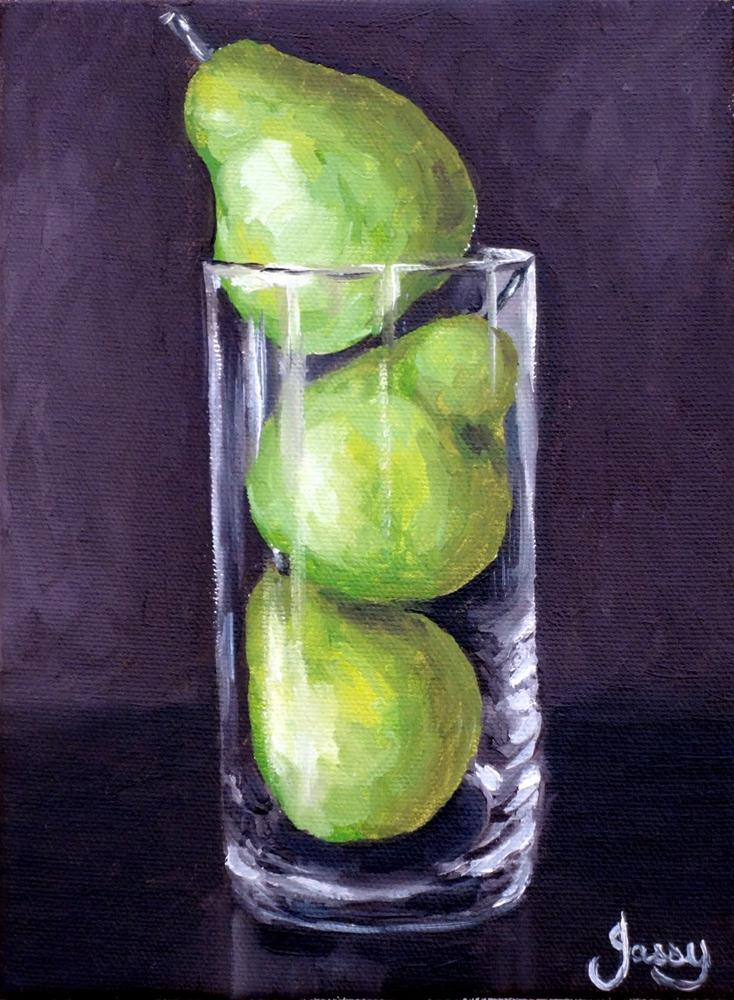 """Three pears in a vase"" original fine art by Jacinthe Rivard"