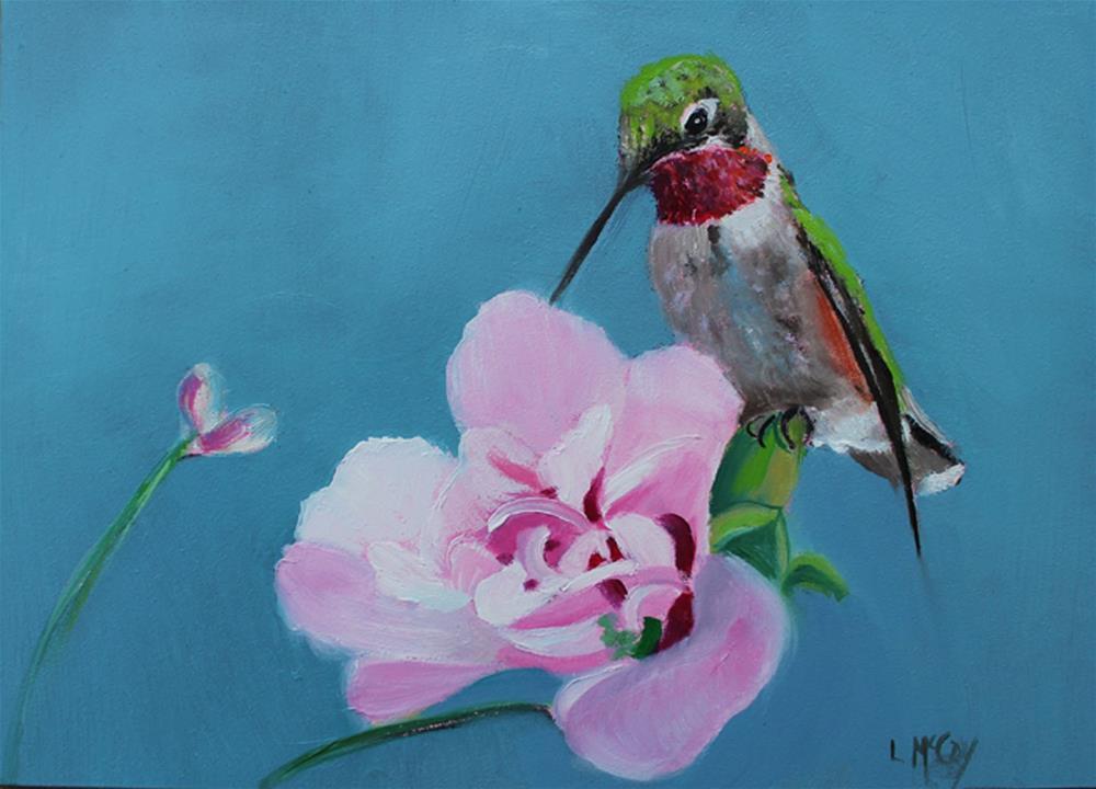"""Hummingbird, Sipping Nectar "" original fine art by Linda McCoy"