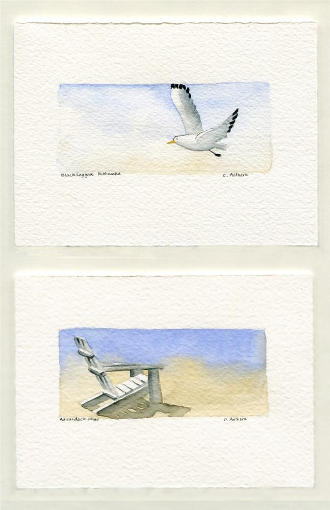 """Adirondack Chair and Black Legged Kittiwake"" original fine art by Corinne Aelbers"