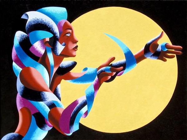 """Mark Webster - Nedah 2028 - Abstract Geometric Futurist Figurative Oil Painting"" original fine art by Mark Webster"